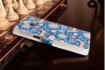 """Фирменный чехол-книжка с безумно красивым расписным рисунком Оленя в цветах на  OnePlus 3T A3010/ OnePlus 3 A3000 / A3003""""  с окошком для звонков"""