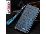 Фирменный роскошный эксклюзивный чехол с фактурной прошивкой рельефа кожи крокодила и визитницей синий для One..