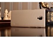 Фирменная задняя панель-крышка-накладка из тончайшего и прочного пластика для OnePlus 3T золотая..