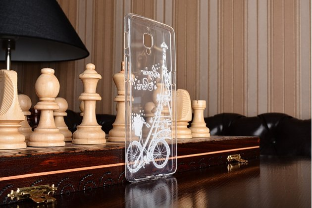 """Фирменная задняя панель-чехол-накладка из прозрачного 3D  силикона с объёмным рисунком для OnePlus 3T A3010/ OnePlus 3 A3000 / A3003"""" """"тематика Франция"""" которая огибает логотип чтобы была видна марка телефона"""