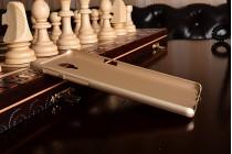 Фирменная задняя панель-крышка-накладка из тончайшего и прочного пластика для OnePlus 3T золотая