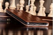 """Фирменный роскошный эксклюзивный чехол с фактурной прошивкой рельефа кожи крокодила и визитницей коричневый для OnePlus 3T A3010/ OnePlus 3 A3000 / A3003"""" . Только в нашем магазине. Количество ограничено"""