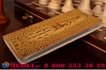 Фирменный роскошный эксклюзивный чехол с объёмным 3D изображением кожи крокодила коричневый для OnePlus One . Только в нашем магазине. Количество ограничено