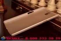 Фирменная задняя панель-крышка-накладка из тончайшего и прочного пластика для OnePlus One золотая