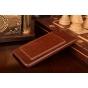 """Фирменная роскошная элитная премиальная задняя панель-крышка для OnePlus X / One + X/ E1001 5.0"""" из качественной кожи буйвола с визитницей коричневая"""