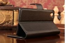 """Фирменный чехол-книжка из качественной импортной кожи с подставкой застёжкой и визитницей для ВанПлюс Х / Ван + / E1001 5.0"""" черный"""