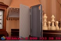 """Фирменный чехол-книжка из качественной водоотталкивающей импортной кожи на жёсткой металлической основе для  OnePlus X / One + X/ E1001 5.0"""" коричневый"""
