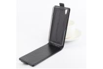 """Фирменный оригинальный вертикальный откидной чехол-флип для OnePlus X / One + X/ E1001 5.0"""" черный из натуральной кожи """"Prestige"""" Италия"""