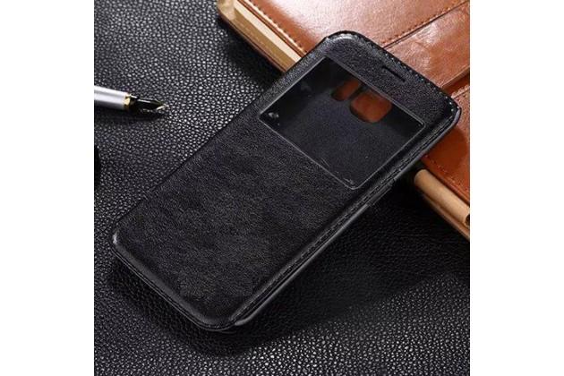 Фирменный оригинальный чехол-книжка для Samsung Galaxy S6 Edge черный с окошком для входящих вызовов водоотталкивающий