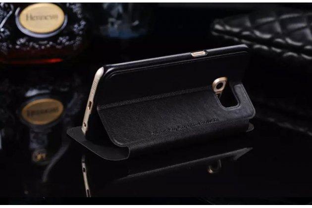 Фирменный оригинальный чехол-книжка для Samsung Galaxy S6 Edge черный с окошком для входящих вызовов и свайпом кожаный