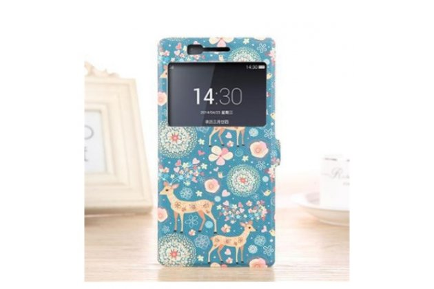 Фирменный чехол-книжка с безумно красивым расписным рисунком Оленя в цветах на OnePlus One с окошком для звонков