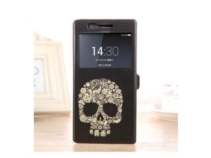 Фирменный чехол-книжка с безумно красивым расписным рисунком черепа на OnePlus One с окошком для звонков..