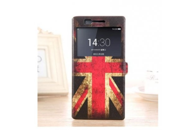 "Фирменный чехол-книжка с рисунком на тему ""Ретро Британский флаг"" на OnePlus One с окошком для звонков"