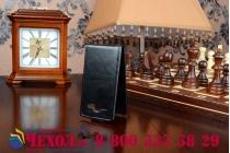 """Фирменный оригинальный вертикальный откидной чехол-флип для Philips Xenium W336 черный кожаный """"Prestige"""" Италия"""