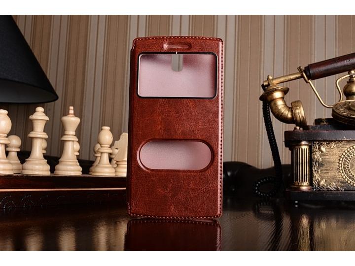 Фирменный оригинальный чехол-книжка для One Plus One коричневый кожаный с окошком для входящих вызовов..