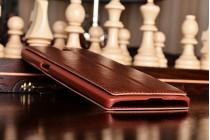 Фирменный оригинальный чехол-книжка для One Plus One коричневый кожаный с окошком для входящих вызовов