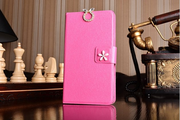 Фирменный роскошный чехол-книжка безумно красивый декорированный бусинками и кристаликами на OnePlus One розовый