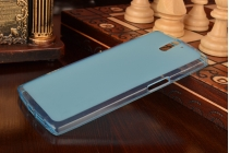 Фирменная ультра-тонкая полимерная из мягкого качественного силикона задняя панель-чехол-накладка для OnePlus One голубая