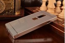 Фирменная металлическая задняя панель-крышка-накладка из тончайшего облегченного авиационного алюминия для OnePlus 2 (Two) A2001 серебристая