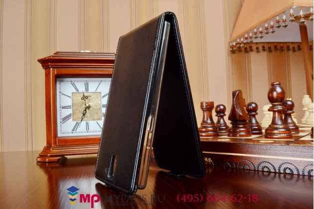 """Фирменный оригинальный вертикальный откидной чехол-флип для One Plus One черный из качественной импортной кожи """"Prestige"""" Италия"""