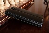 Фирменный оригинальный чехол-книжка для One Plus One черный кожаный с окошком для входящих вызовов