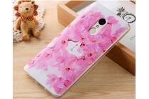 """Фирменная ультра-тонкая силиконовая задняя панель-крышка-накладка  для Xiaomi Redmi Note 4  с 3D объёмным рисунком """"тематика Цветущая Вишня"""""""