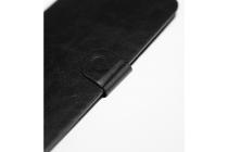 Фирменный чехол-книжка для OUKITEL C4 с визитницей и мультиподставкой черный кожаный