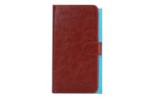 Фирменный чехол-книжка для  OUKITEL C4 с визитницей и мультиподставкой коричневый кожаный