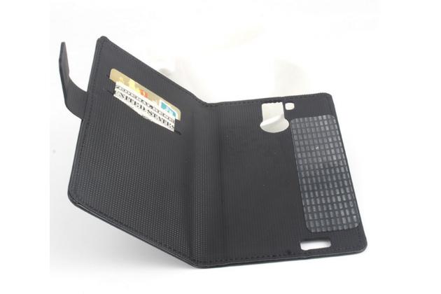 Фирменный чехол-книжка из кожи с подставкой и визитницей для OUKITEL K6000 Pro черный