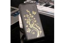 """Фирменный вертикальный откидной чехол-флип для Oukitel С3"""" черный """"золотое цветение"""""""