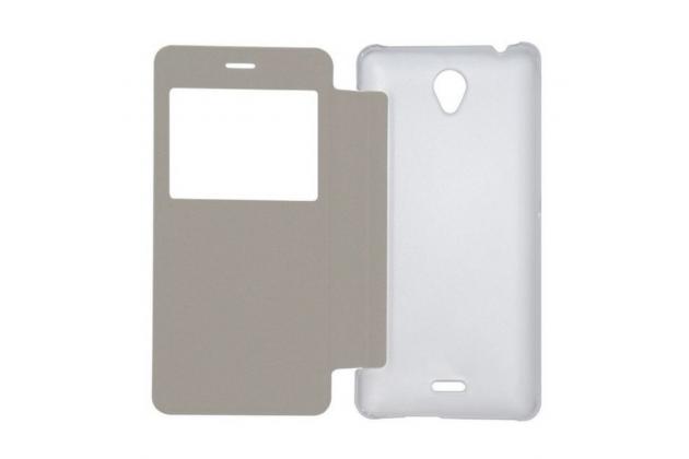 Фирменный оригинальный чехол из кожи с квадратным окном для входящих вызовов  для Oukitel K4000 Черный