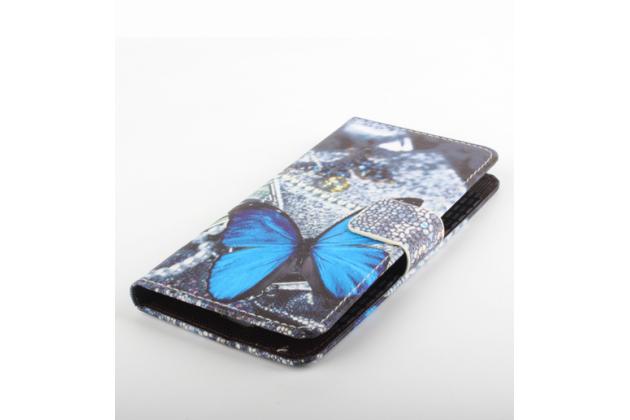 """Фирменный уникальный необычный чехол-книжка для Oukitel K4000 """"тематика радужные Бабочки"""""""