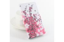 """Фирменный уникальный необычный чехол-книжка с визитницей кармашком для Oukitel K4000""""  """"тематика цветок вишни"""""""