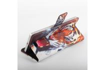 """Фирменный уникальный необычный чехол-подставка с визитницей кармашком на Oukitel K4000  """"тематика Тигр"""""""