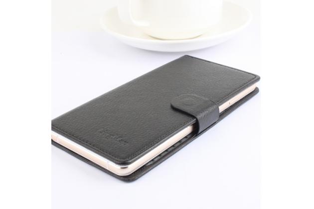 Фирменный чехол-книжка из качественной импортной кожи с мульти-подставкой застёжкой и визитницей для Оукитель У2 черный