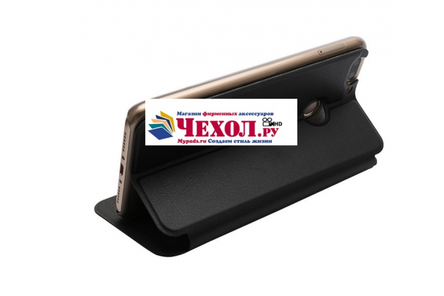 Фирменный чехол-книжка из качественной водоотталкивающей импортной кожи на жёсткой металлической основе для Oukitel U20 Plus черный