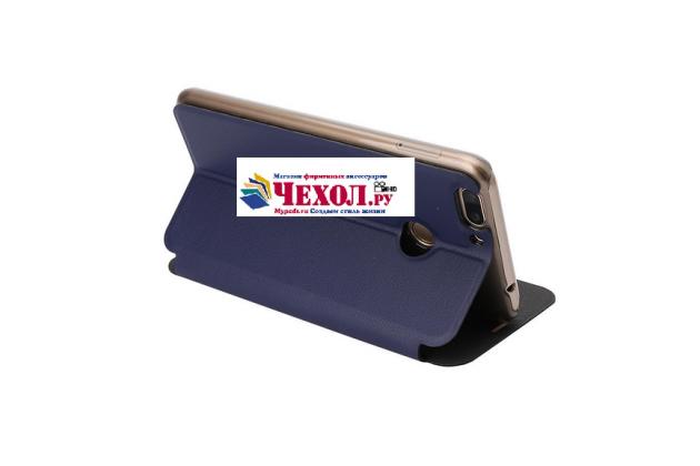 Фирменный чехол-книжка из качественной водоотталкивающей импортной кожи на жёсткой металлической основе для Oukitel U20 Plus синий