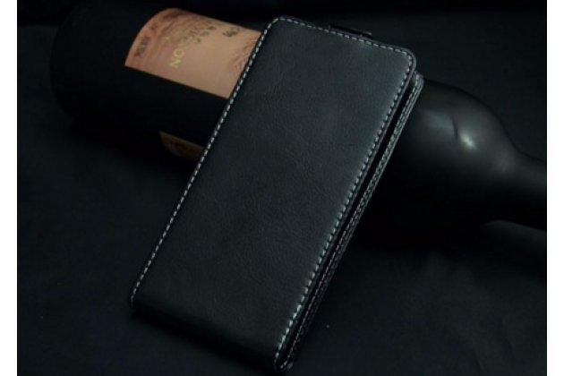 """Фирменный оригинальный вертикальный откидной чехол-флип для  Oukitel U7  черный из натуральной кожи """"Prestige"""" Италия"""