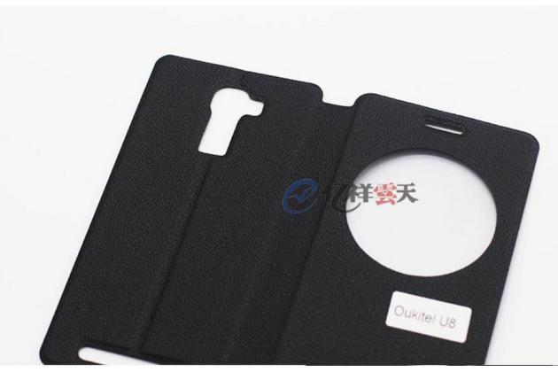 Фирменный оригинальный чехол-книжка для  Oukitel U8 черный с окошком для входящих вызовов водоотталкивающий