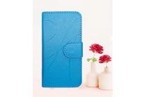 Фирменный чехол-книжка из качественной импортной кожи с подставкой застёжкой и визитницей для OUKITEL U15S голубой