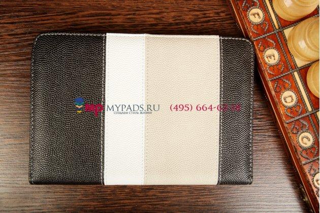 Чехол-обложка для Oysters T37 черный с серой полосой кожаный