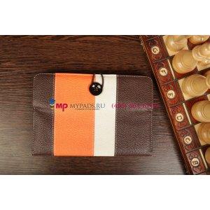 Чехол-обложка для Oysters T37 коричневый с оранжевой полосой кожаный