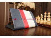 Чехол-обложка для Oysters T8 A4 синий с красной полосой кожаный..