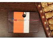 Чехол-обложка для Oysters Kids 8 коричневый с оранжевой полосой кожаный..