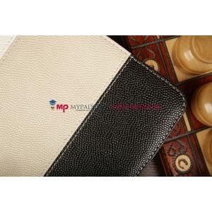 Чехол-обложка для Oysters T34 черный с серой полосой кожаный