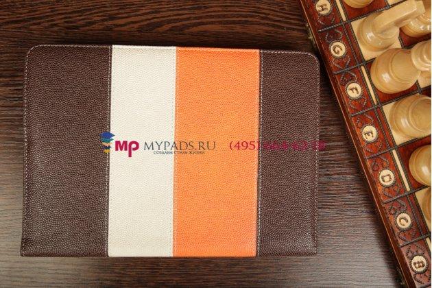 Чехол-обложка для Oysters T34 коричневый с оранжевой полосой кожаный