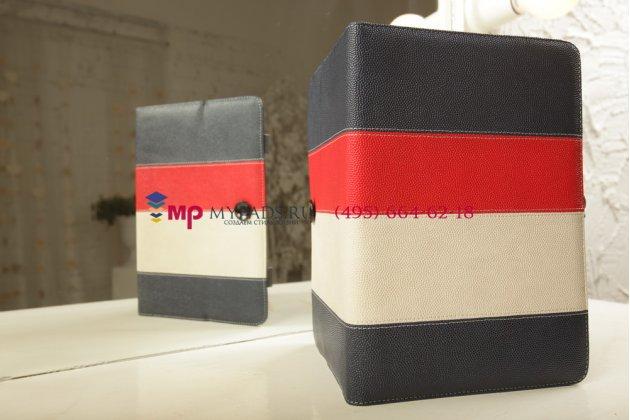Чехол-обложка для Oysters T34 синий с красной полосой кожаный