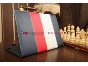Чехол-обложка для Oysters T34 синий с красной полосой кожаный..