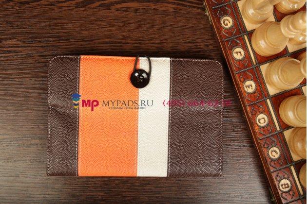 Чехол-обложка для Oysters T84 3G коричневый с оранжевой полосой кожаный