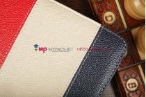 Чехол-обложка для Oysters T84 3G синий с красной полосой кожаный